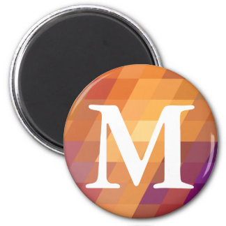 Geometric Patterns   Orange Parallelograms 2 Inch Round Magnet