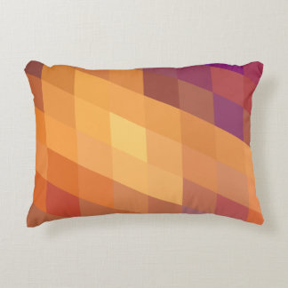 Geometric Patterns   Orange Parallelograms Accent Pillow