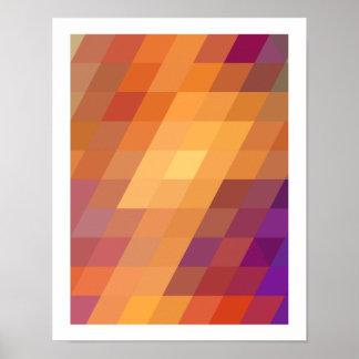 Geometric Patterns | Orange Parallelograms Poster