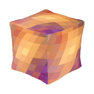 Geometric Patterns   Orange Parallelograms Pouf