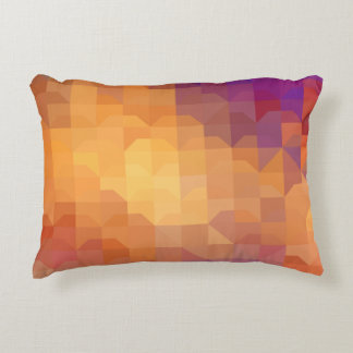 Geometric Patterns | Orange Squares and Triangles Accent Pillow