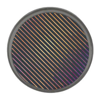 Geometric Patterns   Purple and Orange Stripes Gunmetal Finish Lapel Pin