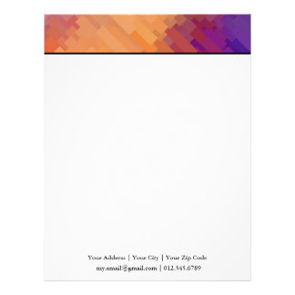 Geometric Patterns | Purple and Orange Strips Letterhead
