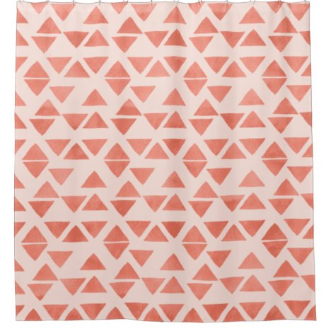 Geometric Peach Coral Watercolor Triangle Pattern Shower Curtain