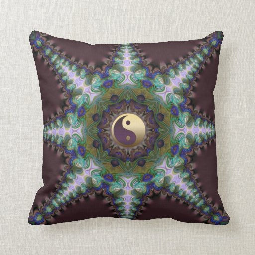 Geometric Peacock Star Yin Yang Cushion / Pillow