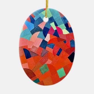 Geometric pendant Double-Sided oval ceramic christmas ornament
