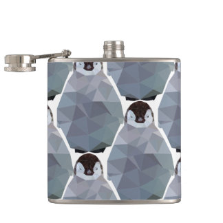 Geometric Penguin Huddle Print Hip Flask