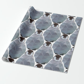 Geometric Penguin Huddle Print Wrapping Paper