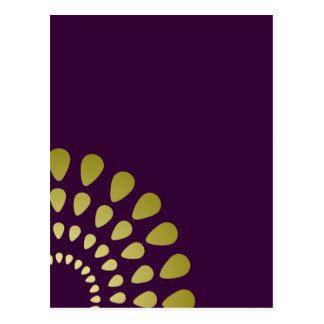 Geometric Petal Pattern in Gold Blank Postcard