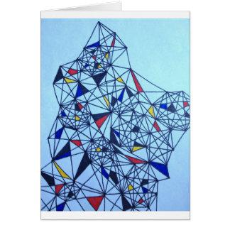 Geometric Piet Modrian Inspired Pattern Greeting Card