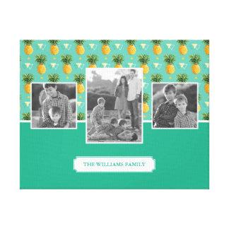 Geometric Pineapple Pattern | Family Photos & Text Canvas Print