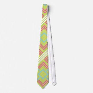 Geometric Pink and lime Vintage Wedding Tie