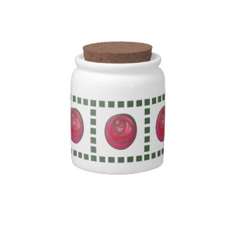 Geometric Pink and Red Art Nouveau Roses Candy Jar
