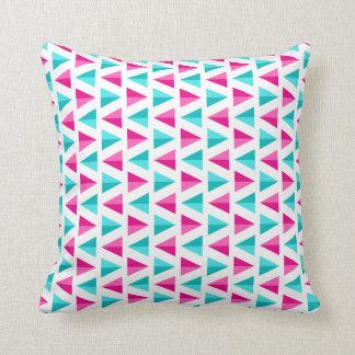 Geometric Pink & Aqua Blue Triangles Pattern Throw Pillow