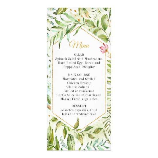 Geometric Pink Green Gold Botanicals Wedding Menu