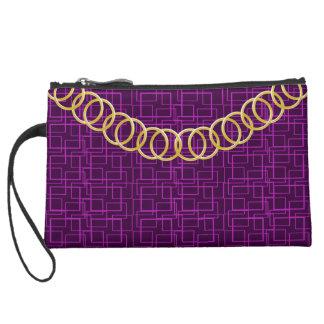 Geometric Pink Luxury Sueded Baguette Purple Suede Wristlet Wallet