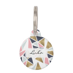 Geometric pink navy blue gold triangles pattern pet tag