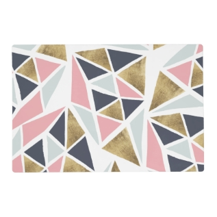 Geometric Pink Navy Blue Gold Triangles Pattern Placemat at Zazzle