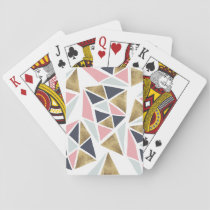 Geometric pink navy blue gold triangles pattern playing cards