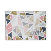 Geometric pink navy blue gold triangles pattern post-it notes