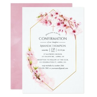 Geometric Pink Spring Cherry Blossom Confirmation Invitation