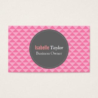 Geometric, Pink Triangles Pattern, Minimalist Business Card