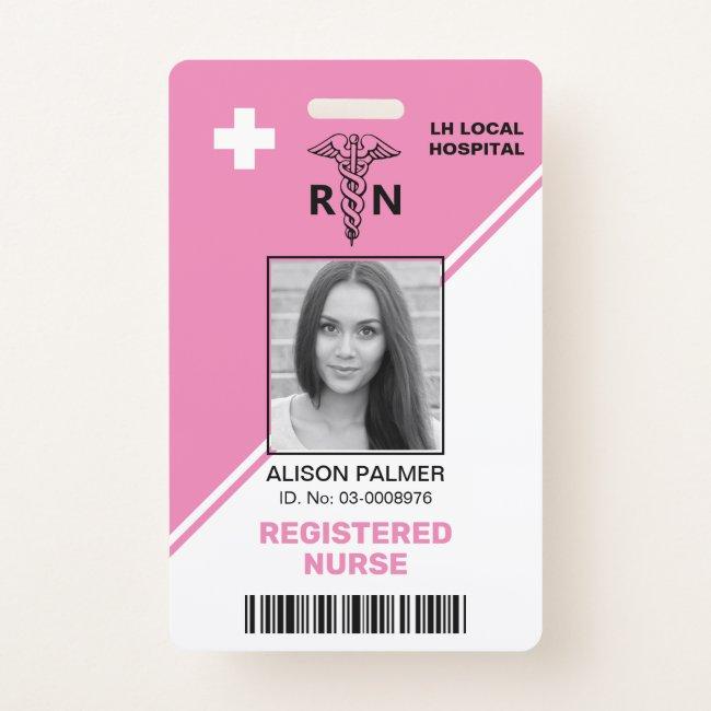Geometric pink triangles Registered nurse RN Badge