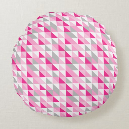 geometric pink white gray triangles pattern round pillow LG Voyager LG Rumor