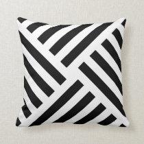 Geometric Pinwheel Stripe in Black and White Throw Pillow