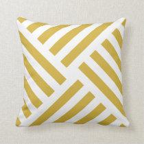 Geometric Pinwheel Stripe in Mustard Yellow Throw Pillow