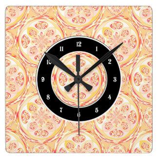Geometric pizza pattern square wall clock