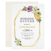 Geometric polygon floral wedding rehearsal dinner invitation