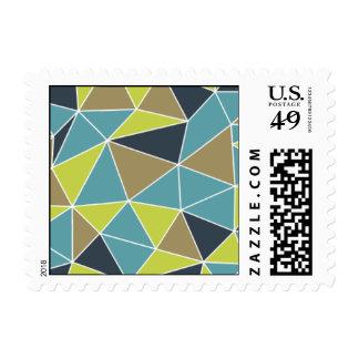 Geometric - Prism - Navy Blue & Teal Postage