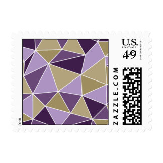 Geometric - Prism - Purple & Gold Postage Stamps