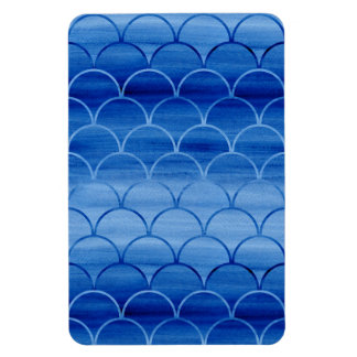 Geometric Prussian Blue Watercolor Fan Shapes Magnet