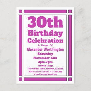 Geometric Purple 30th Birthday Invitation Postcard