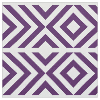 Geometric Purple and White Chevrons and Diamonds Fabric