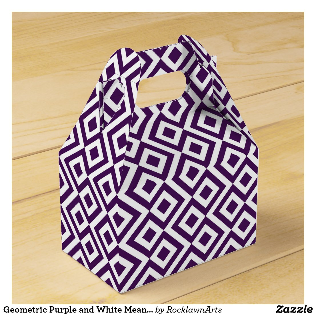 Geometric Purple and White Meander Favor Box