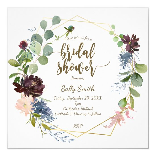 geometric purple blue florals bridal shower invitation
