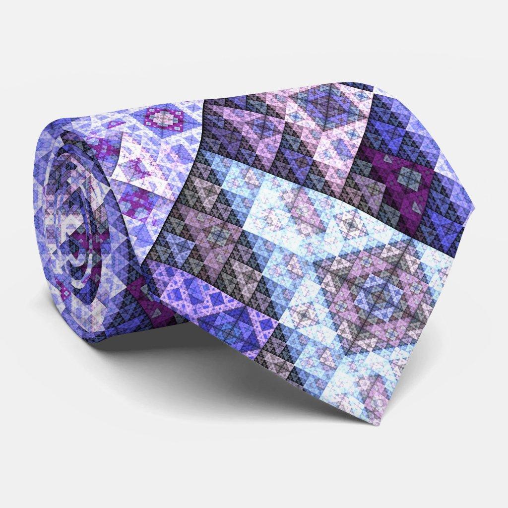 Geometric Purple Blue Pattern Tie