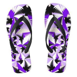 Geometric Purple Fractal Flip Flops
