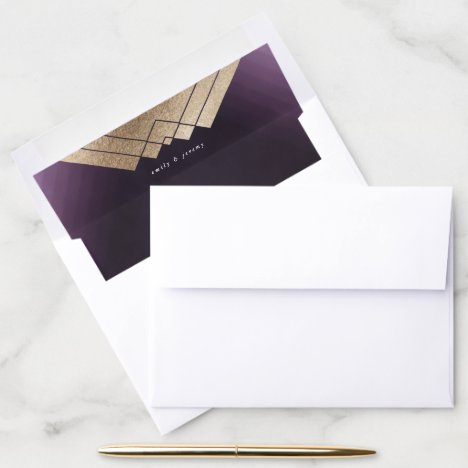 Geometric Purple Gold Gatsby Wedding Envelope Liner