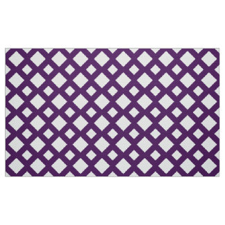 Geometric Purple Lattice on White Fabric