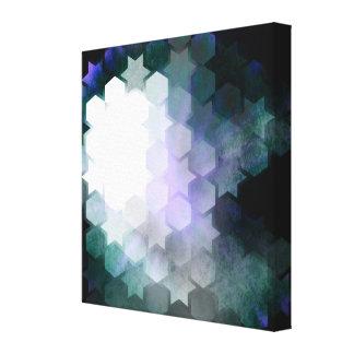 Geometric Purple Stars & Hexagons Canvas Print