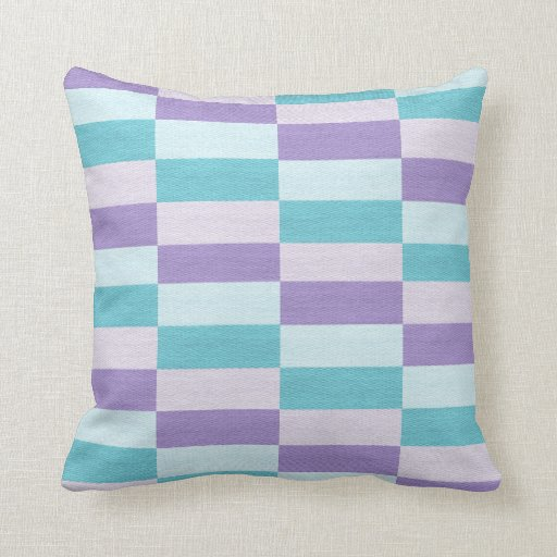 Turquoise And Purple Decorative Pillows : Geometric Purple Turquoise Colorblock Throw Pillow Zazzle