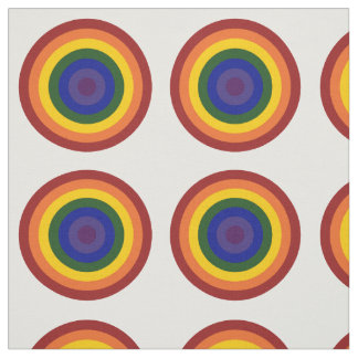 Geometric Rainbow Bullseye Pattern Fabric