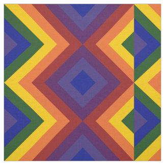 Geometric Rainbow Chevron Stripes and Diamonds Fabric
