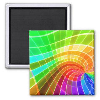 Geometric Rainbow Swirl 2 Inch Square Magnet