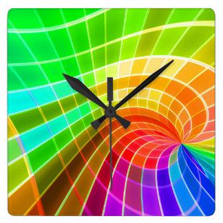 Geometric Rainbow Swirl Square Wall Clocks