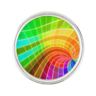 Geometric Rainbow Swirl Lapel Pin